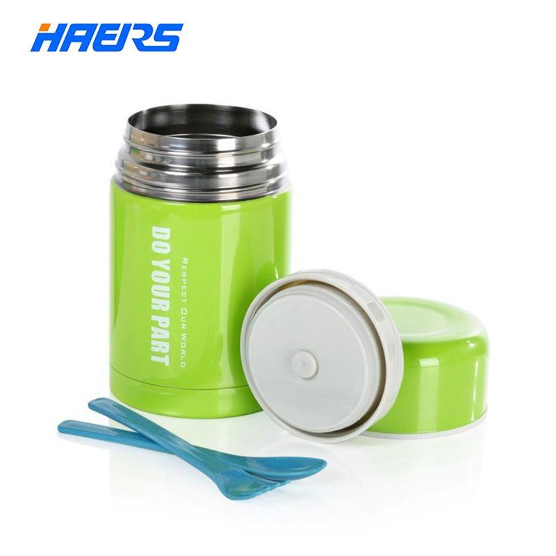 HAERS 750ML Вакуумный термос из нержавеющей стали для для горячей еды с сумкой зеленого цвета