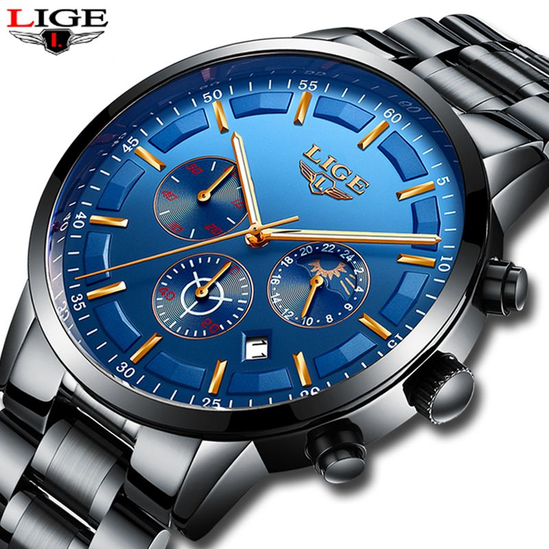 LIGE Men's Waterproof Quartz Watch Full steel Men Watches Dress Business Fashion Casual Sport Moon Phase Black Blue Male Clock