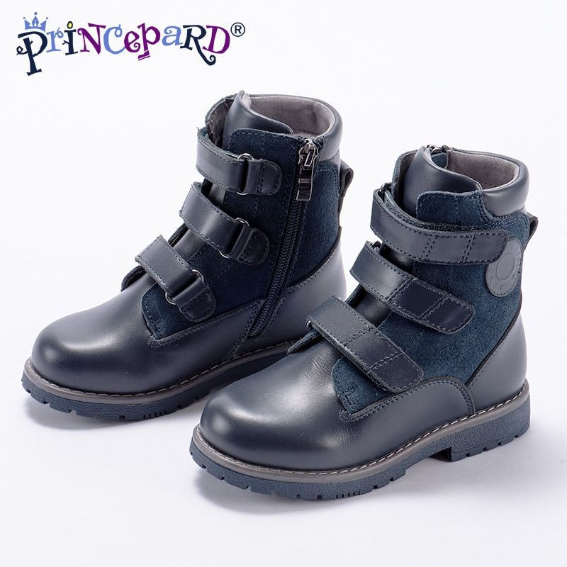 Princepard 2018 specialized high waist orthopedic boots for kids black fleece lining insoles genuine leather upper 23-36 size
