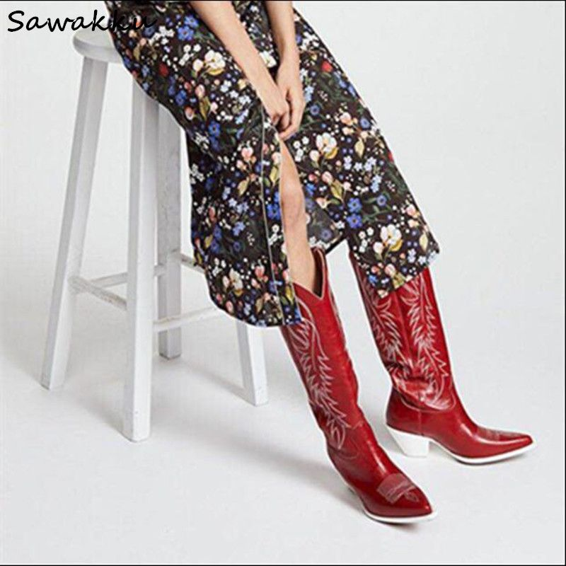 New Design Kendall Style Women Knee High Boots Autumn Winter Genuine Leather Slip On Runway Shoes Embroider Chunky High Heels