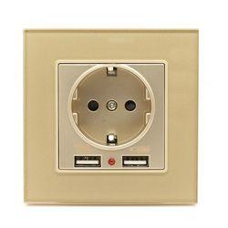 Двойной зарядка через USB Порты и разъёмы 2.1a стены Зарядное устройство адаптер ЕС Разъем Мощность Outlet PC Панель белый новый роскошный Стекло П...