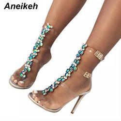 Aneikeh Nouvelle D'été sandales femmes Boucle Sangle de Luxe Bleu Cristal Chaîne Transparent PVC Haute Talon OpenToe Sexy Sandales Chaussures