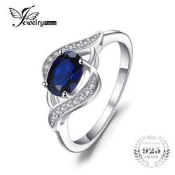 JewelryPalace 1.1ct Created Blue Sapphire Statement Ring 925 Sterling Silver Fine Jewelry New Gift  for Women  Hot Selling