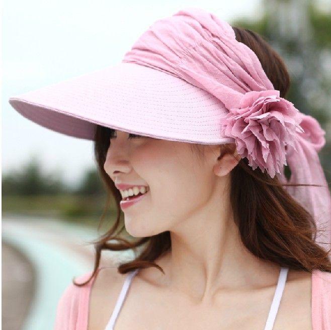 New Sun Hats For Women Fashion Lady Summer Visor Hat Female Beach Cap Prevention Of Ultraviolet & Flower Design Hat