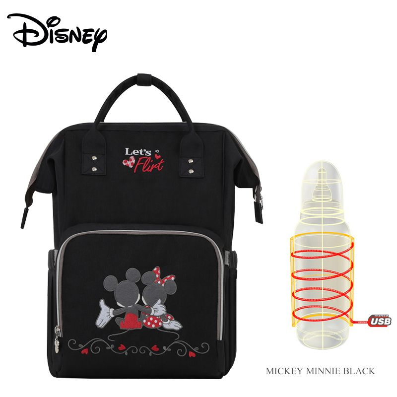 Disney New Lover Pattern Thermal Insulation Bag High-capacity Baby Feeding Bottle Bags Diaper Bags Oxford USB Insulation Bags