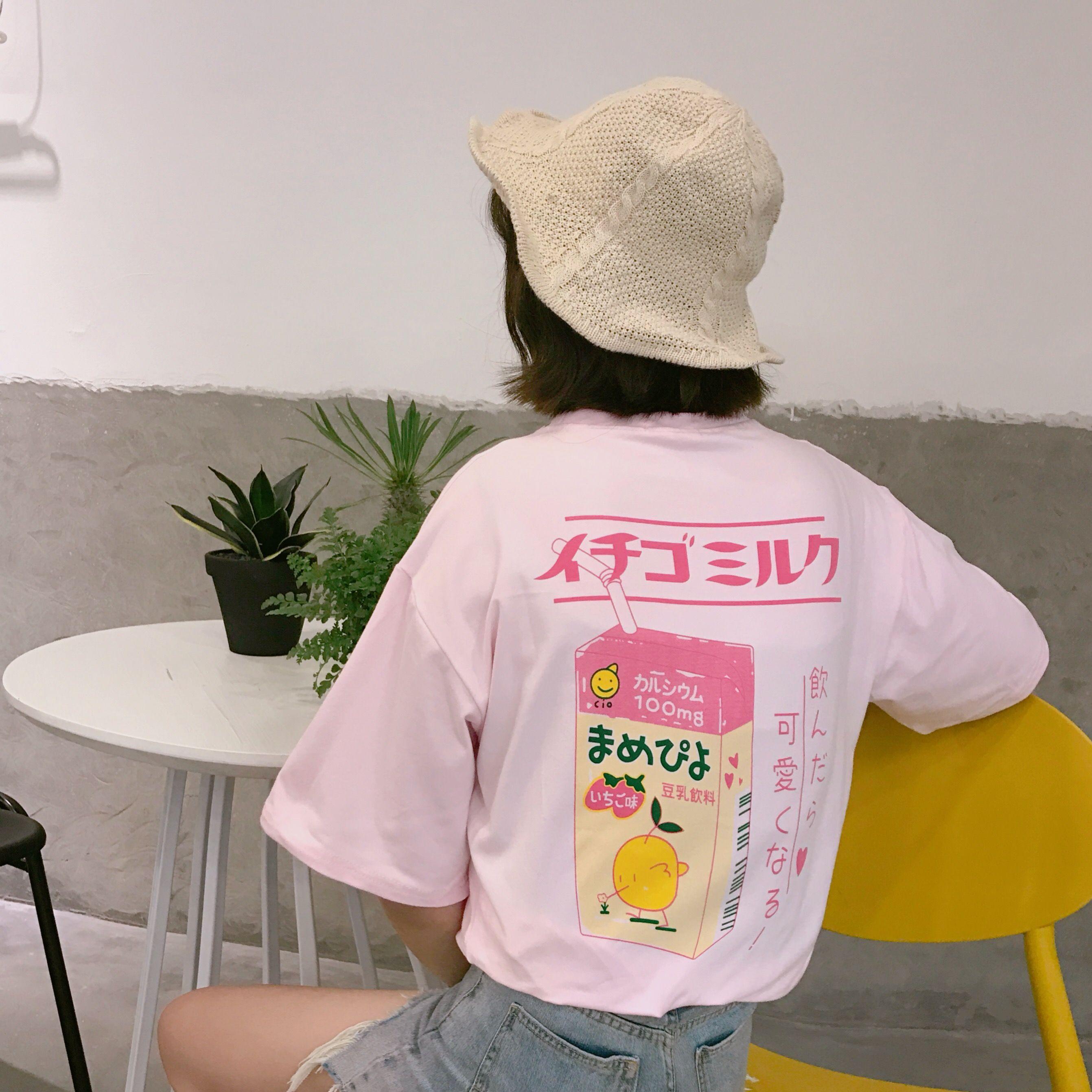 2017 d'été Japonais lettre mignon frais simple coton doux preppy style courtes manches t-shirts pour femme