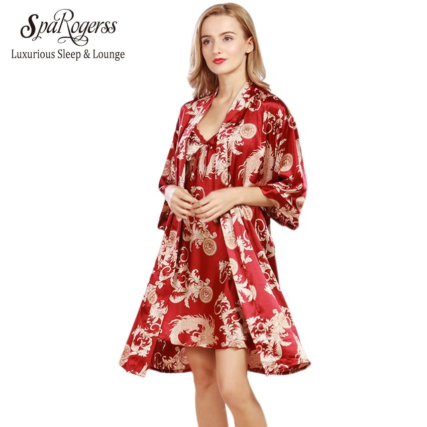 SpaRogerss New Women Robe Gown Set 2017 Faux Silk Luxurious Ladies Summer Bath 2 Pcs Robe Chemise Set Female Lounge Suit WP322