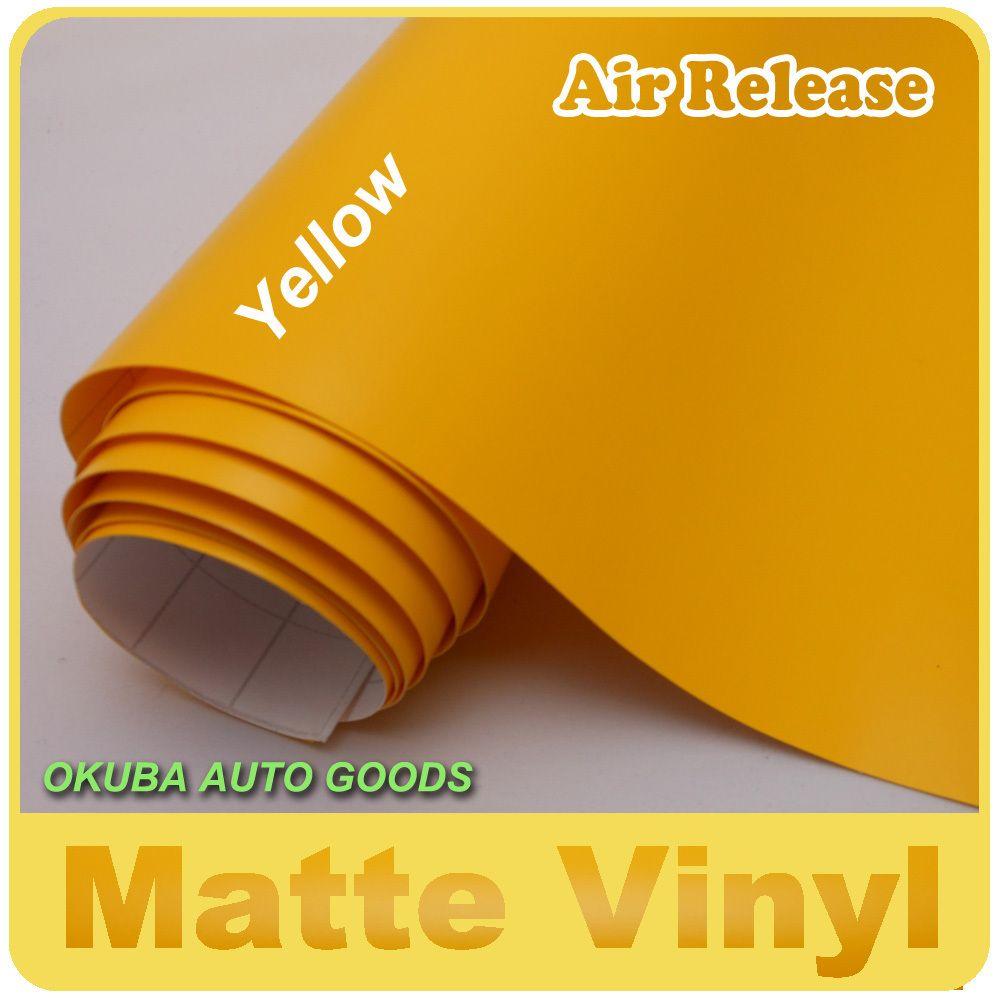 Hohe Qualität Gelb Matte Vinyl mit Air Release/1,52 m * 30m FedEx Kostenloser Versand