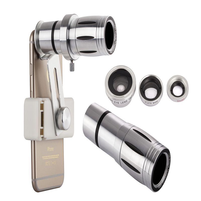 Universel 12X Zoom Lentille de Télescope de Téléphone Portable 4in1 lentille Téléobjectif Externe Smartphone Lentille de la Caméra pour iPhone Samsung HTC Huawei