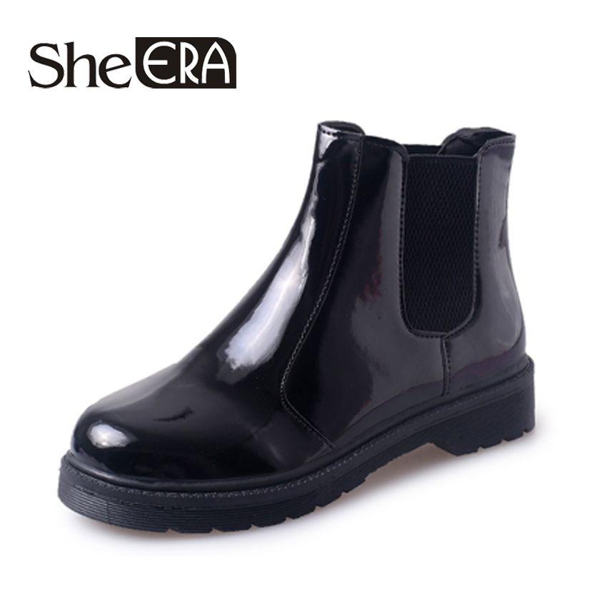 She Era Fashion PVC Ankle Rain Boots Women Female Waterproof Solid Color Rainboots Water Shoes Woman