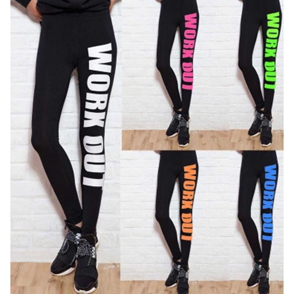 Sport leggings frauen bleistift fitness workout briefe drucken yoga hosen dame gym kleidung sportwear