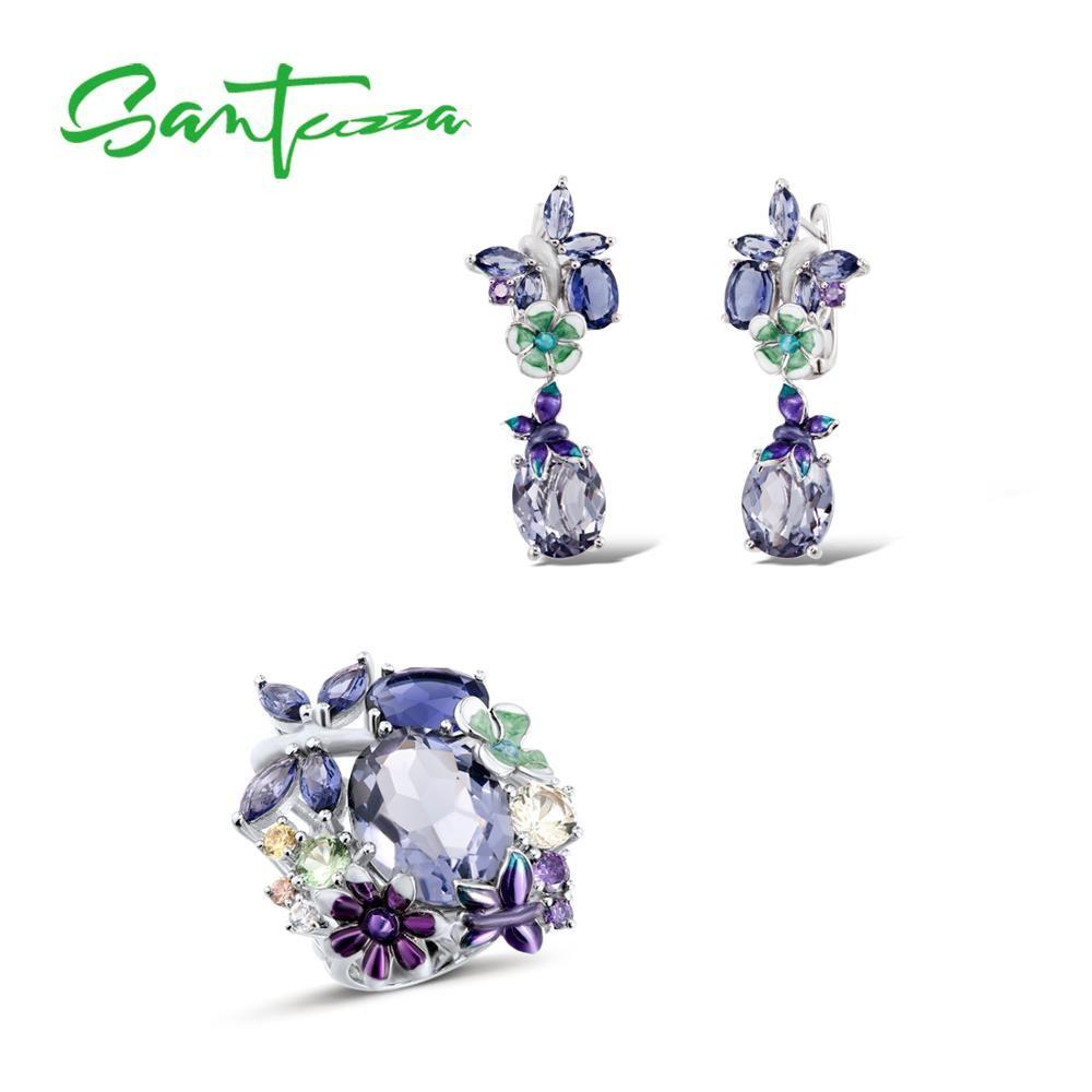SANTUZZA Silver Jewelry Set HANDMADE Enamel Butterfly Purple Stones Ring Earrings 925 Sterling Silver Women Fashion Jewelry Set