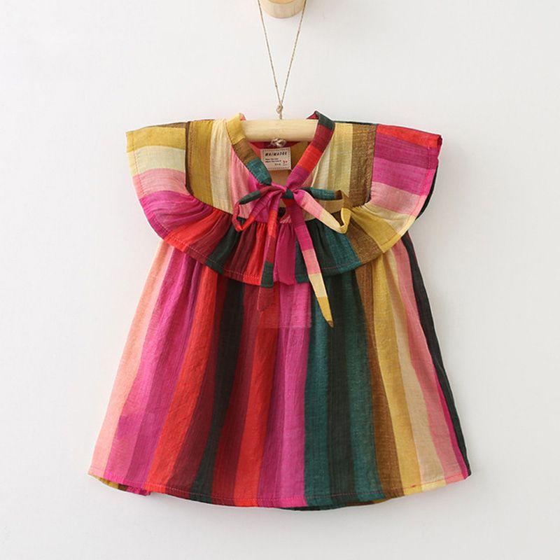 Oklady 2017 new casual enfants d'été ruché robe fille arc bretelles enfants robes robe fille d'été vêtements fille blouse