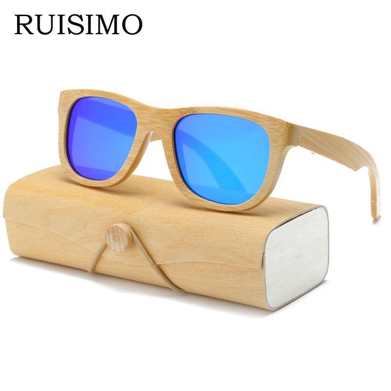 Lunettes de soleil en bois hommes femmes carré bambou femmes pour hommes femmes miroir lunettes de soleil rétro de sol masculino 2017 fait à la main avec étui