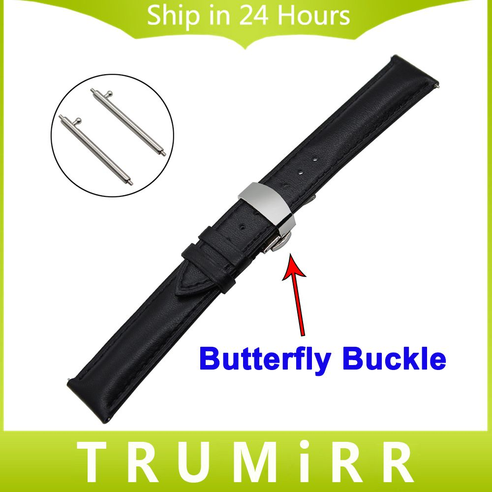 22mm Quick Release Watchband for Moto 360 2 2nd Gen 46mm Men 1st Layer Genuine Leather Watch Band Butterfly Clasp Strap Bracelet
