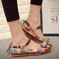 Top kualitas Sepatu Kasual Datar Wanita Flat Handmade Beaded Ankle Straps Sepatu Zapatos Mujer Retro Etnis Bordir Shoes35-42
