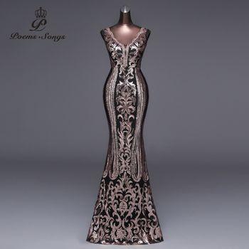 Poèmes Chansons 2018 Nouveau Double-V Longue Robe De Soirée robe de festa Sexy Backless De Luxe Or Sequin formelle partie robe de bal robes
