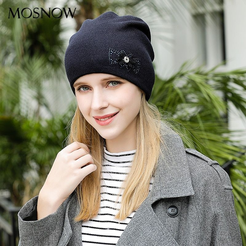 MOSNOW Women's Hats Caps Flower Bow-Knot High Quality Knitted Warm Fashion Brand New 2017 Hat Female Skullies Beanies #MZ815