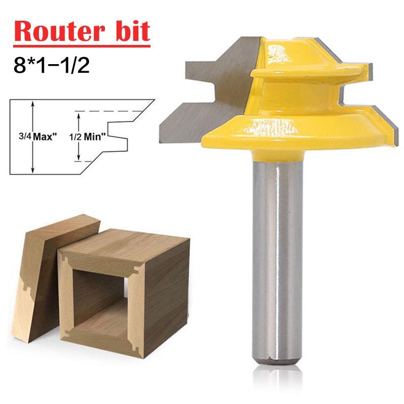 Woodworker Lock Miter Router Bit 45 Degree Width 8*1-1/2 Woodworking Drill Bit 8mm Shank Tenon Cutter Woodwork Milling Cutters