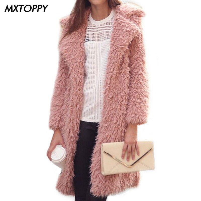 2018 Winter Spring Woman Coat Woolen Cardigan Female Warm Loose Coat Turn-down Collar Long Coat Solid Wool Outwear Cardigan