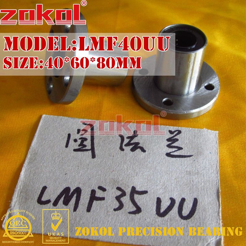 ZOKOL LMF40 UU bearing LMF40UU Round flange linear motion bearing 40*60*80mm
