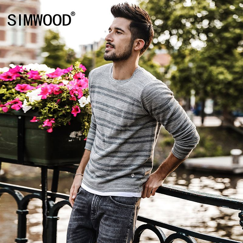 SIMWOOD Knitted Sweater Men Fashion 100% Cotton Slim Fit 2018 Spring Winter Spring New Striped Pullover Curl Hem MT017014