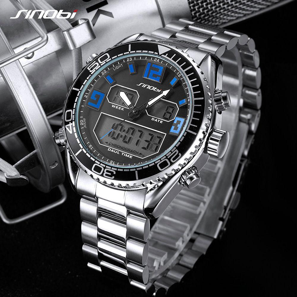SINOBI S9731 LCD Men Sport Fashion Watch 316 Steel Band Chronograph Quartz Watch Military Waterproof Date Relogio Masculino