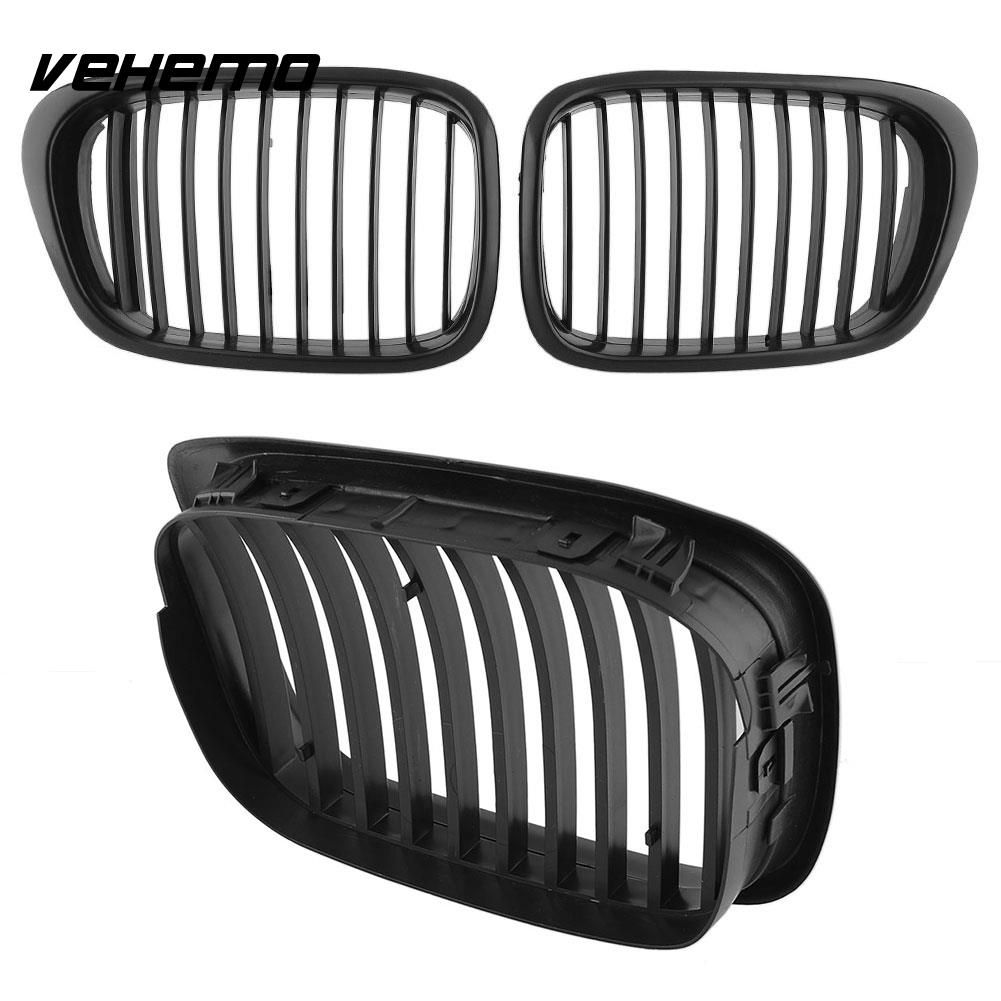 Vehemo 1Pair Front Black Wide Kidney Hood Grille Grill For BMW E39 535 1997-2003