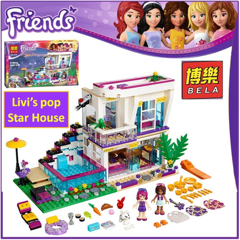 BELA Building Block 10498 Compatible Friends Livi's Pop Star House 41135 Emma Mia Figure Educational Toy For Children 01046