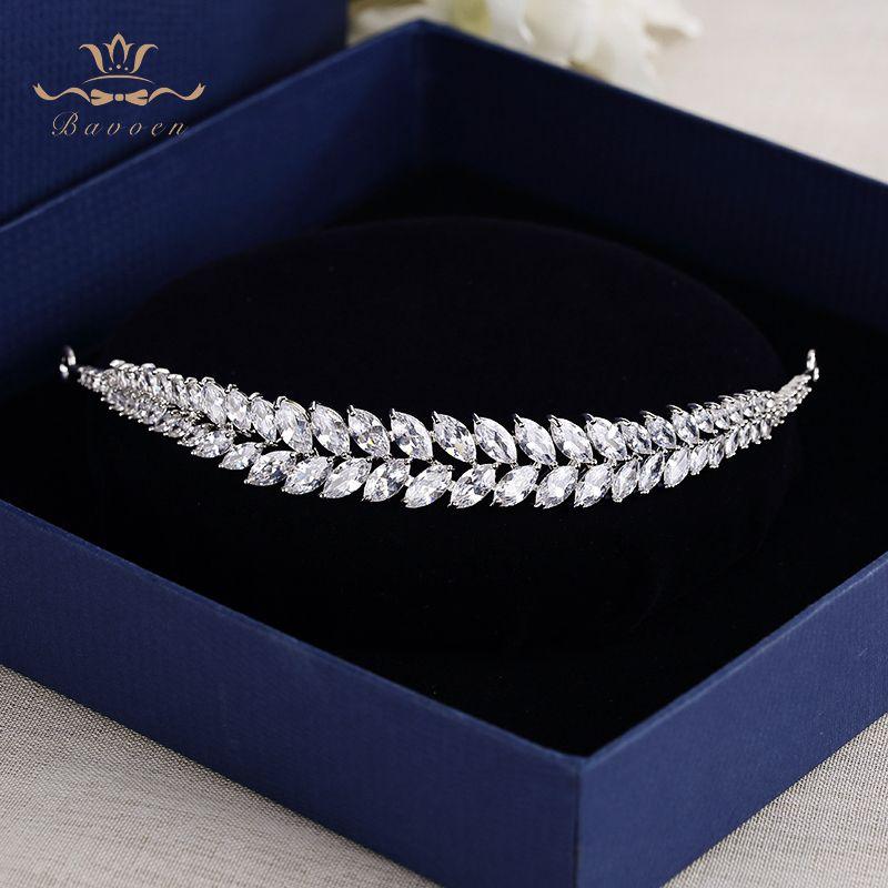 Bavoen feuilles élégantes clair Zircon diadèmes de mariage bandeaux cristal mariées accessoires de cheveux soirée cheveux bijoux cadeaux d'anniversaire