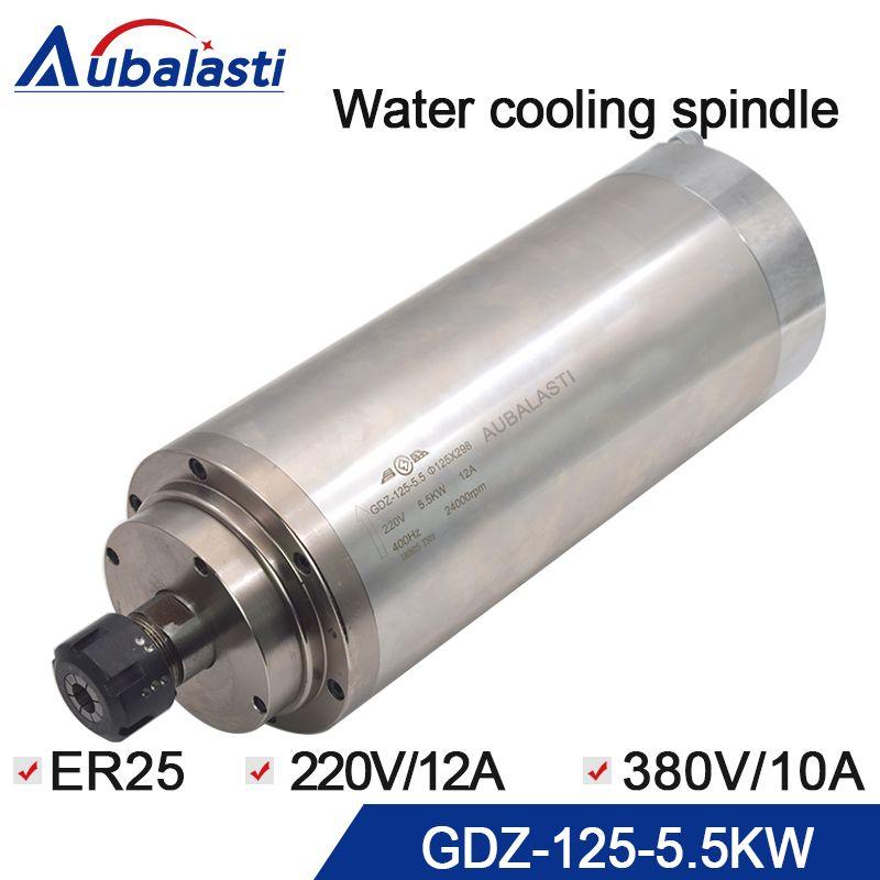 5.5KW Spindel CNC Router Spindel Motor 220 V 12A 380 V 10A Wasser Kühlung Spindel ER25 Mit Durchmesser 125mm für CNC Router Maschinen