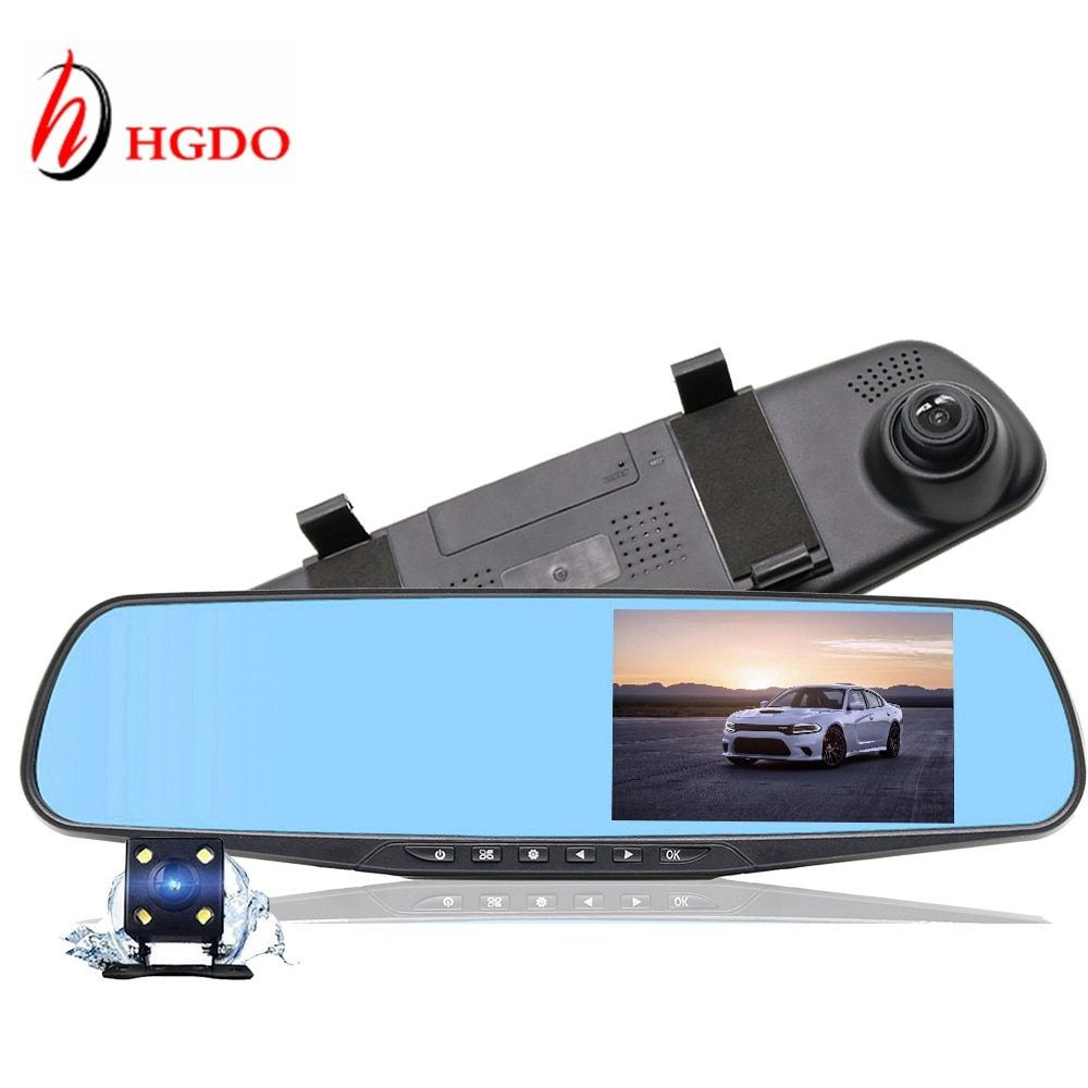 HGDO Car DVR 4.3'' Rearview Mirror Camera Recorder Dual Lens recorder video Registrator Full HD1080P Night vision auto Dash Cam