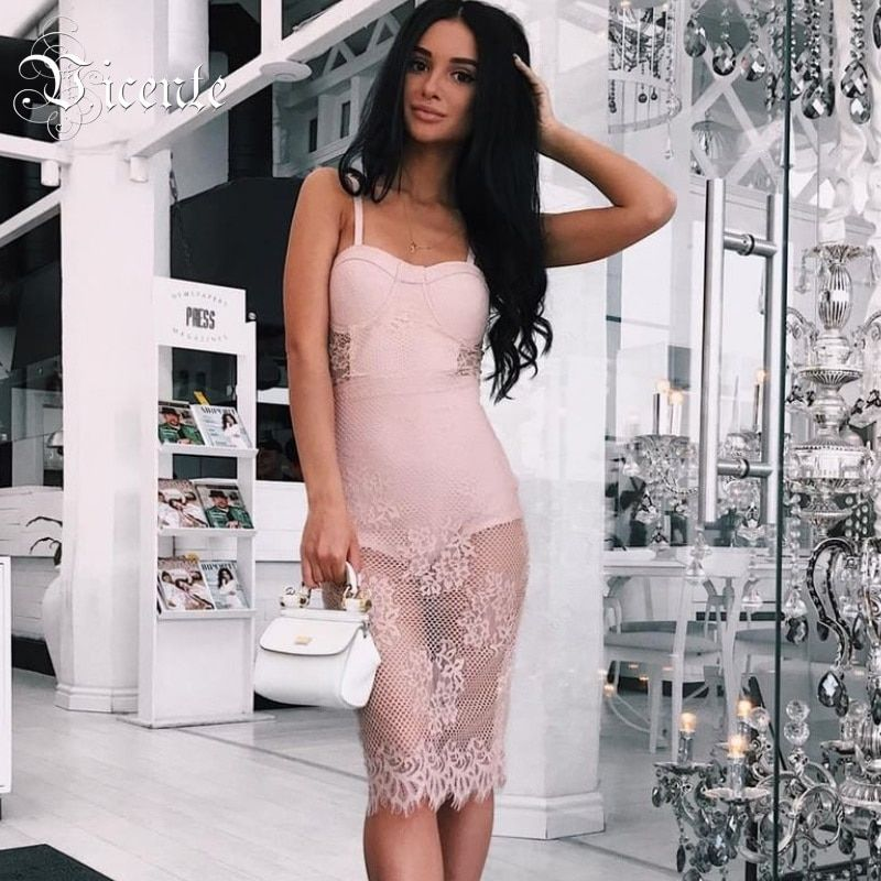 Out Of Size Clearance Sale! Chic Graceful Sexy Bra Lace Embellished Sleeveless Wholesale Women Celebrity Party Bandage Dress
