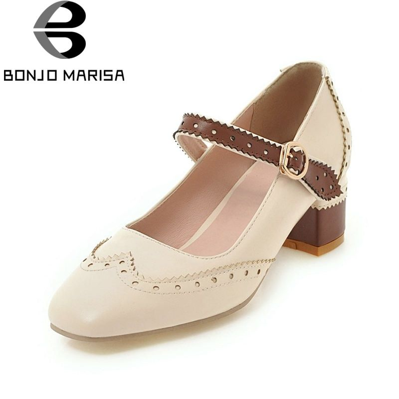 BONJOMARISA 2018 Spring Autumn New Arrival Big Size 34-43 Mixed Color Women Mary Janes Pumps Flower Edge Med Heels Shoes Woman