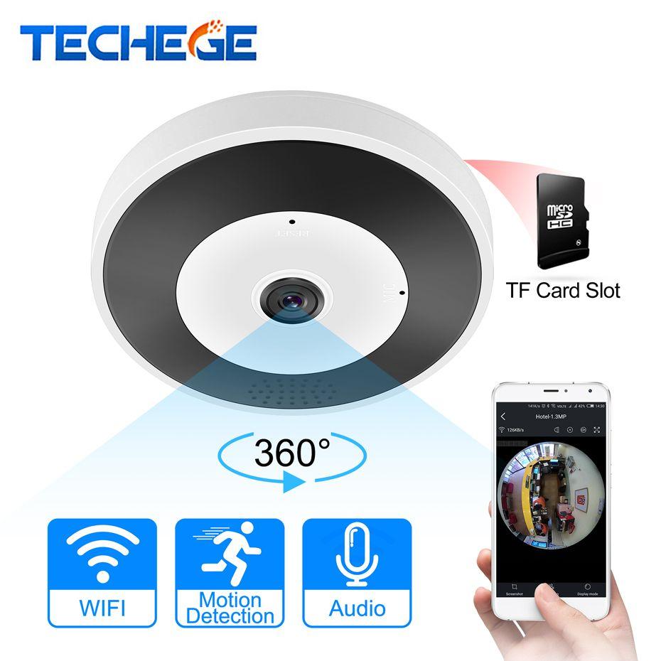 Techege 3D VR WIFI Smart Camera Audio 360 Degree VR Panoramic Camera <font><b>1.3MP</b></font> 2MP 3MP FIsheye Wireless camera TF Card Slot IR 10M
