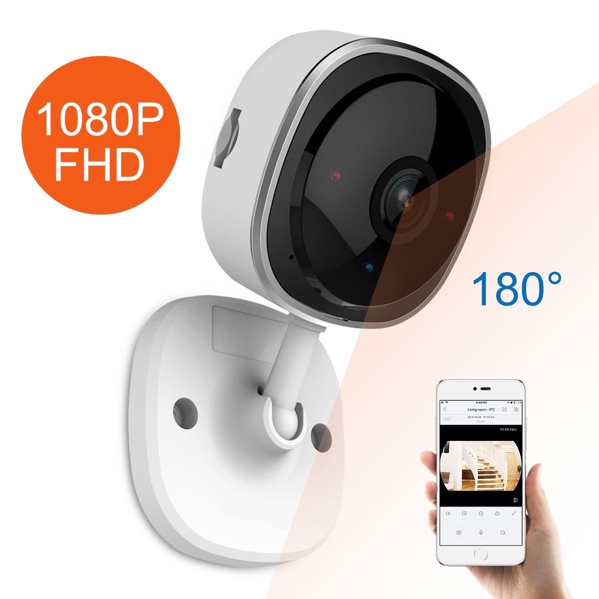 SANNCE HD 1080P Fisheye IP Camera Wireless Wifi Mini Network Camara Night Vision IR Cut Home Security Camara Wi-Fi Baby Monitor