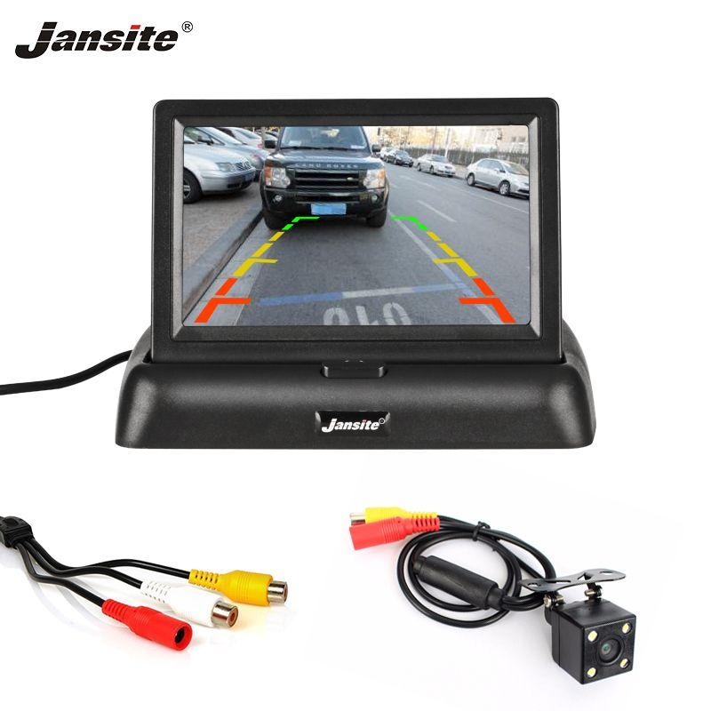 Jansite 4.3 moniteur de voiture TFT LCD caméra de recul de voiture système de recul pour caméra de recul Support VCD DVD image inverse