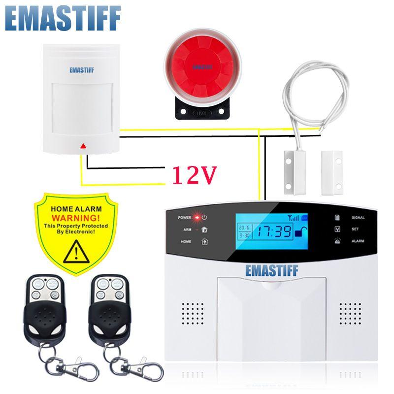Free Shipping!Wireless GSM Intruder Burglar Alarm Systems Security Home Wired Signal PIR/Door Sensor Russian voice PDF Manual