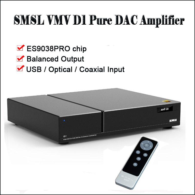 SMSL VMV D1 Desktop USB DAC Audio Verstärker Decoder DAC ES9038PRO DSD DAC Verstärker Ausgewogene ausgang Decodificador