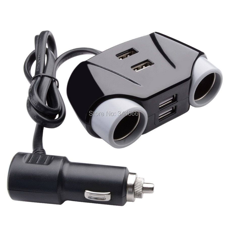 4 Ports USB Car-charger with 2 Socket Cigarette Lighter Adapter Splitters 4.2A Car-charger for ipad iphone 6s 7 Samsung DVRs