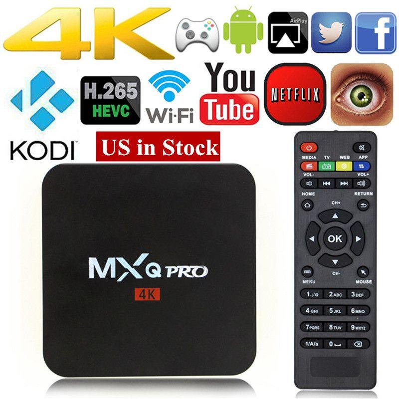 MXQ pro Android 7.1 TV BOX Unlocked Android Fully Loaded Kodi 17.4 Quad Core 1+8GB Streaming Media Player Set-top box PK X96 X92