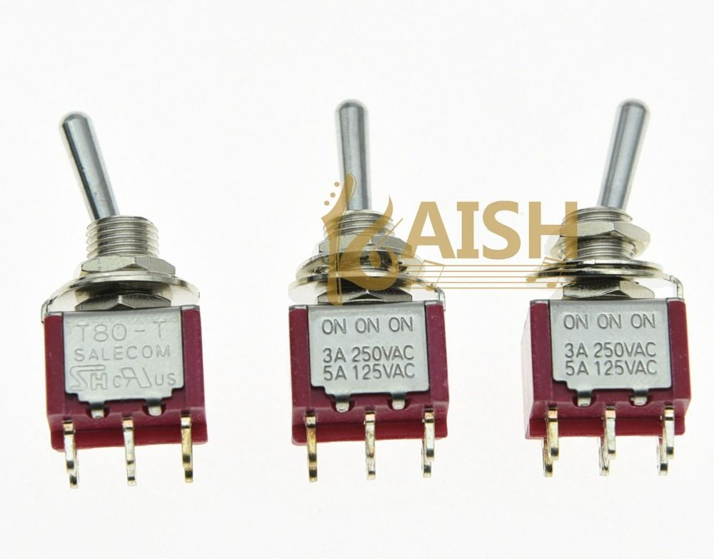 KAISH 5x DPDT 6 Pin 3 Way ON/ON/ON Guitar Mini Toggle Switch SALECOM Car/Boat Switches