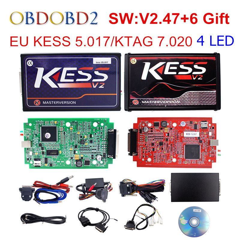 Online Master KESS V5.017 V2.47 Red PCB Manager Tuning Kit KESS 5.017 No Tokens For Car/ Truck/Tractor Free Shipping