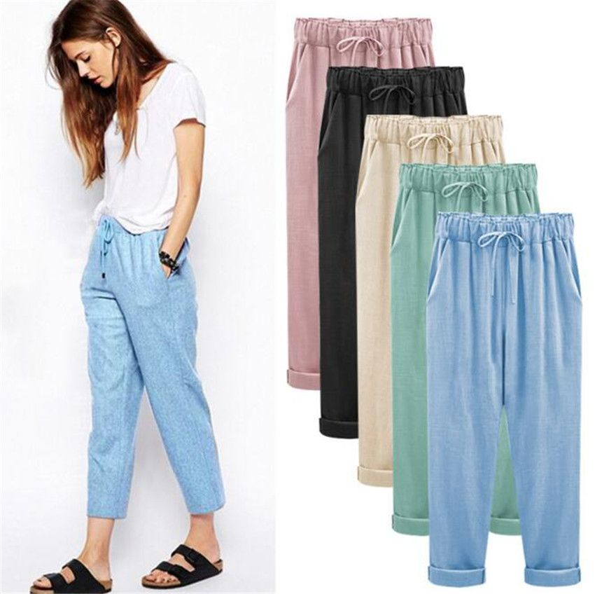 MLCRIYG The new pants female cotton pants pounds of loose thin linen trousers