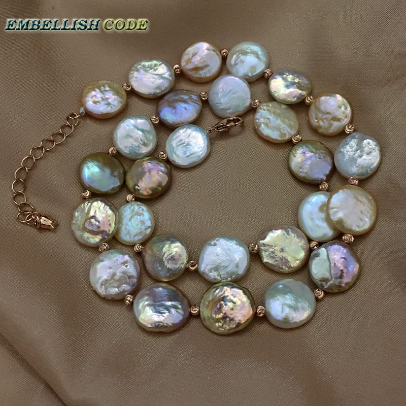 baroque pearl choker statement necklace mixed color round coin flat shape natural freshwater pearls with red golden 3mm beads