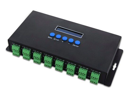 2017 neue Led-leuchten Controlers 16 Kanäle Auf Artnet SPI/DMX Pixel Licht Controller 340 pixel * 16CH + zwei ports (2x512) DC5V-24V