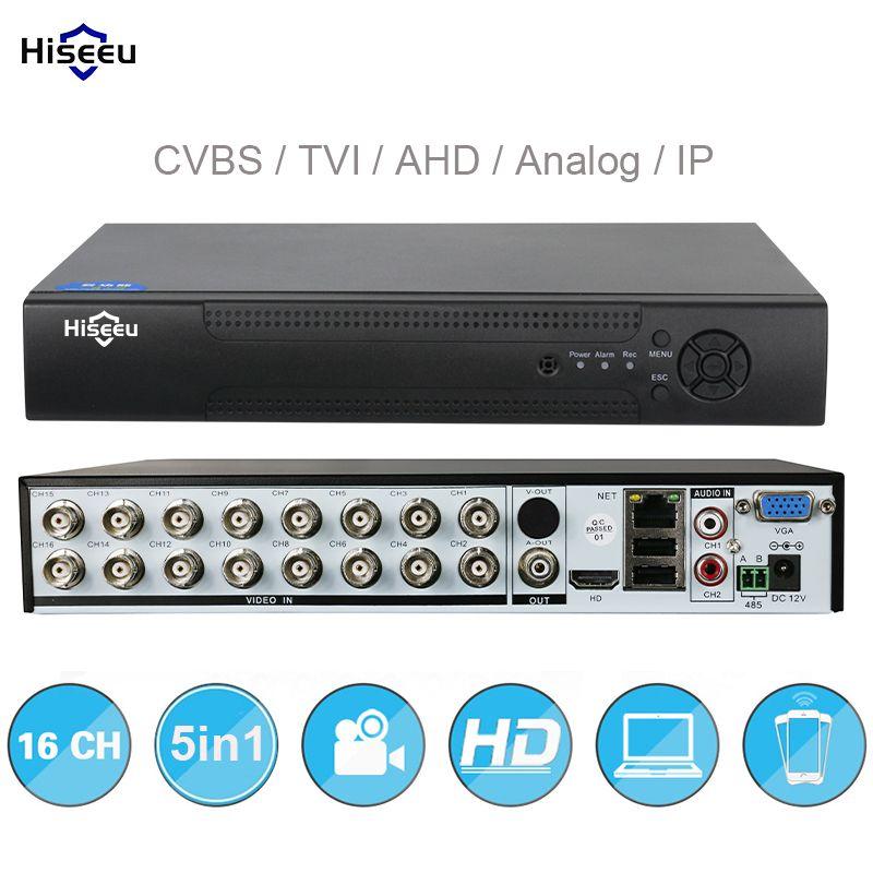 16CH 5in1 AHD DVR support CVBS TVI AHD Analog IP Cameras HD P2P Cloud H.264 VGA HDMI video recorder RS485 Audio Hiseeu