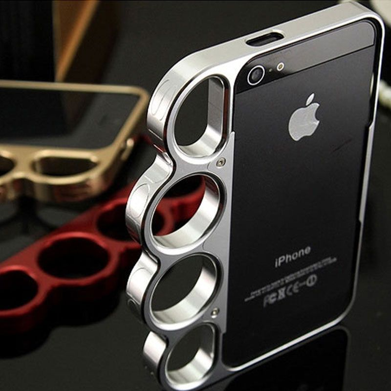 100% en alliage d'aluminium De Boxe Pour iPhone 5 5S Bumper Mode Seigneur anneaux Knuckles Finger Téléphone Couverture de Cas de Vue pour l'iphone 5G SE
