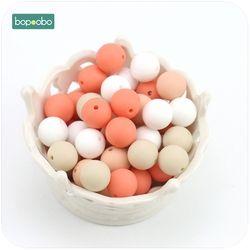Bopoobo Bébé Accessoires 10 pc 12mm Silicone Beige Série Perle de Qualité Alimentaire Silicone Dentition Soins Infirmiers Bracelet Perles Bébé de Dentition