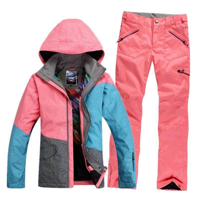 GSOU SNOW Brand Ski Suit Women Waterproof Ski Jacket Snowboard Pants Winter Mountain Skiing Suit Female Outdoor Sport Clothing